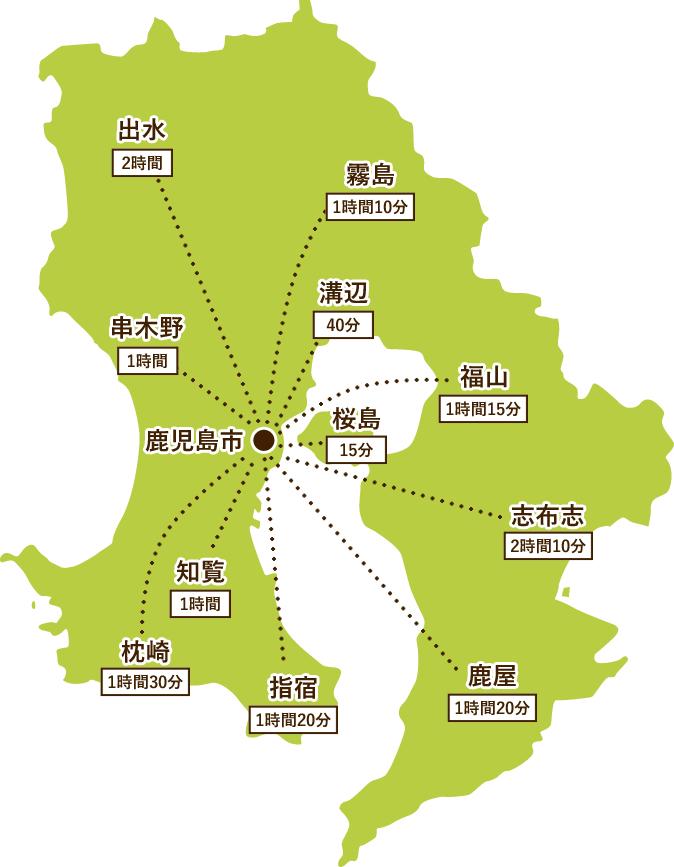 鹿児島から県内各地への貸切バス所要時間