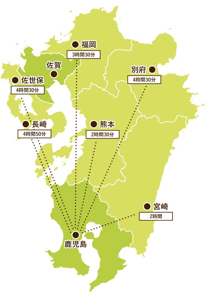 鹿児島から九州各地への貸切バス所要時間